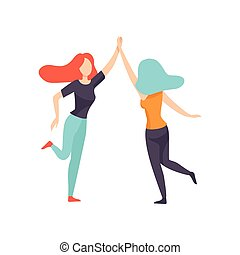 Two Happy Women Friends Giving High Five,Happy Meeting, Female Friendship Vector Illustration