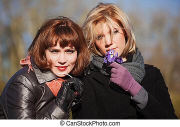 Two happy women outdoor