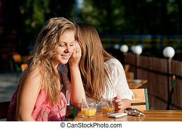 Two happy women sharing secret