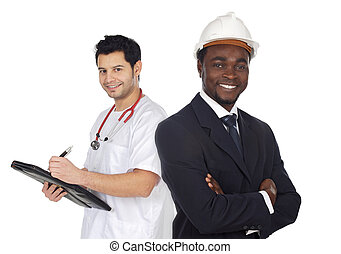 Two happy workers a over white background