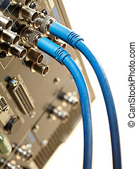 Two HD SDI-video cables - Macro shot of the 2 HD SDI-video...