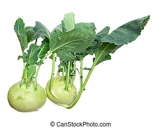 Two head of kohlrabi isolated over white background