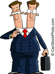 Two headed - Cartoon businessman with two heads, vector ...