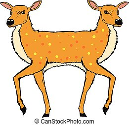 Two Headed Deer Vector Sketch