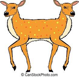 Two Headed Deer Vector Sketch