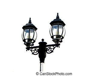 Two headed street lamp isolated on a white background.