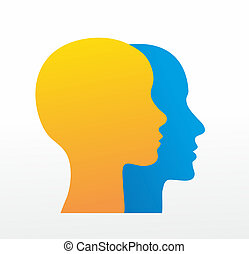heads - two heads from the side, woman and man