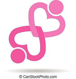 Two heart love people knot logo