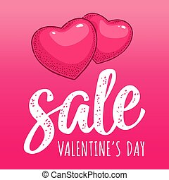 Two heart. Sale Valentine's Day handwriting lettering....