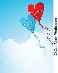 two heart shaped kites in the sky