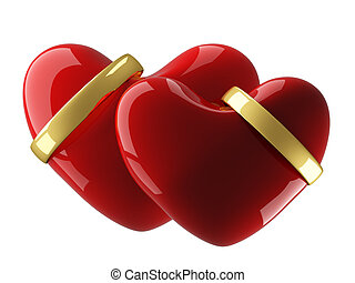 Two heart with wedding rings on a white background. 3D image...