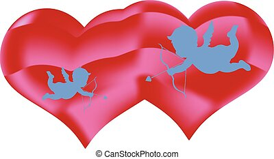 Two hearts and angels with an arrow, decorations for Valentine's Day, on a white background,