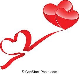Two hearts and ribbon