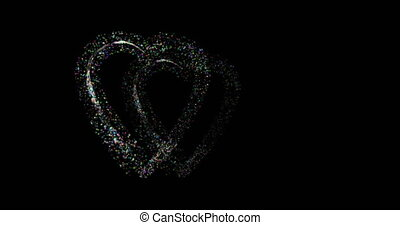 two hearts appearing as a line of flickering stars and then...