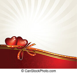 two hearts - greeting-card with The Valentine's day