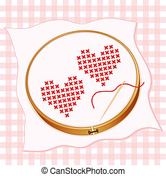 Two red hearts in cross stitch embroidery on white fabric, wooden embroidery hoop, pastel gingham background, gold needle and thread.