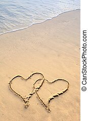 two hearts drawn on the sand of a beach