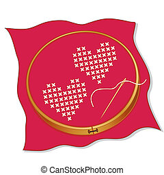 Two hearts in cross stitch embroidery on valentine red fabric, wooden embroidery hoop, gold needle and thread, isolated on white.