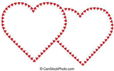 Two Hearts - Two entwined valentine red hearts each made of...
