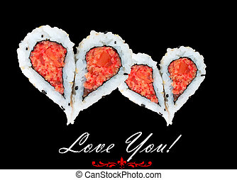 Two hearts forming from four pieces of sushi, love concept
