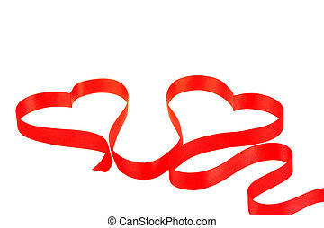 Two hearts from red ribbon