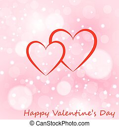 Two hearts greeting card with Valentines day.