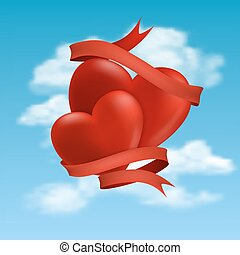 two hearts hovering in clouds