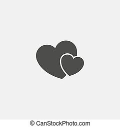 Two hearts icon in black color. Vector illustration eps10