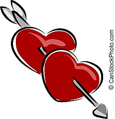 Two hearts, illustration, vector on white background