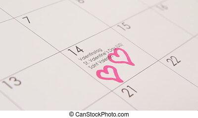 Two hearts in calendar