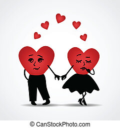 Two hearts in love. Vector illustration.