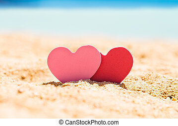 Two Hearts In Sand At Beach