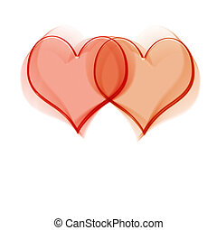 Intertwined glassy red hearts on white background