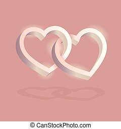 Two hearts intertwined on pink background. Optical illusion of 3D three-dimensional volume. Vector illustration. Valentine's Day. Vector