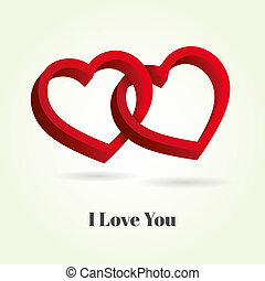 Two hearts intertwined on white background. Optical illusion of 3D three-dimensional volume illustration. Valentine's Day
