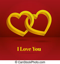 Two hearts intertwined on white background. Optical illusion of 3D three-dimensional volume. Valentine's Day
