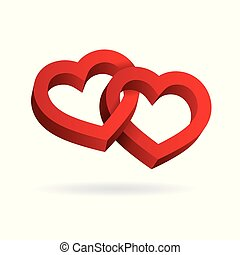 Two hearts intertwined on white background. Optical illusion of 3D three-dimensional volume. Vector illustration. Valentine's Day. Vector