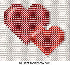 Two hearts knitted valentines card, vector illustration