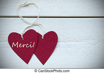 Two Hearts Label French Text Merci Means Thank You