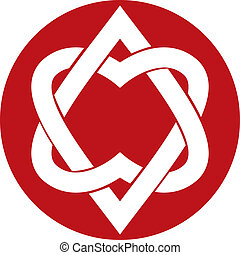 Two hearts linked vector symbol.
