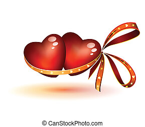 two hearts linked with ribbon