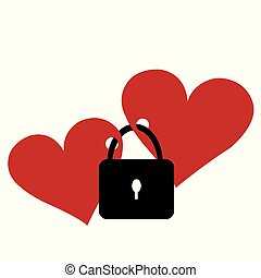 Two hearts locked with the lock