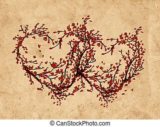 Two hearts made from sakura tree