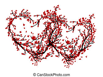 Two hearts made from sakura tree for your design