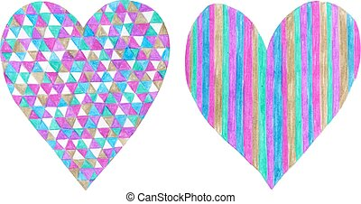 Two hearts made of colored pencil and  isolated on white background.