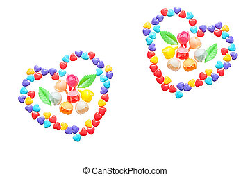Two hearts of little colorful candy hearts. Caramelized flowers. Isolated on a white background.