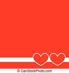 Two hearts on a red background.