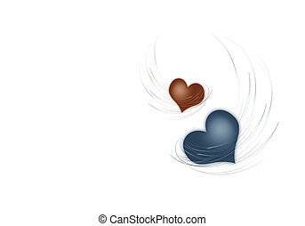 Two hearts on a white background