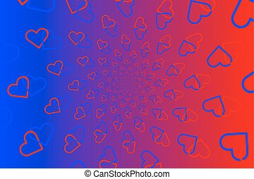 Two hearts on colorful background