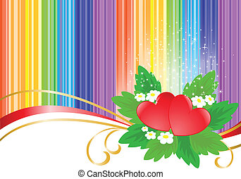 two hearts on rainbow background